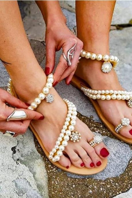 Elegant Pearl Beaded Boho Summer Fashion Sandals