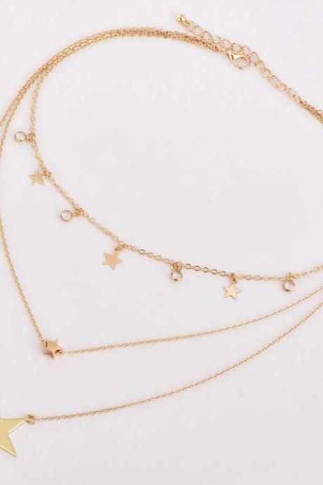 Beautiful Multi Layer Gold Stars Charmed Necklace