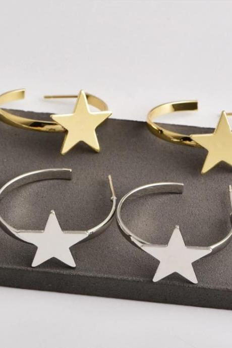 Chic Stars Silver and Gold Earrings