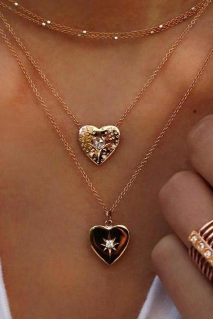 Love Heart Charmed Golden Layered Necklace