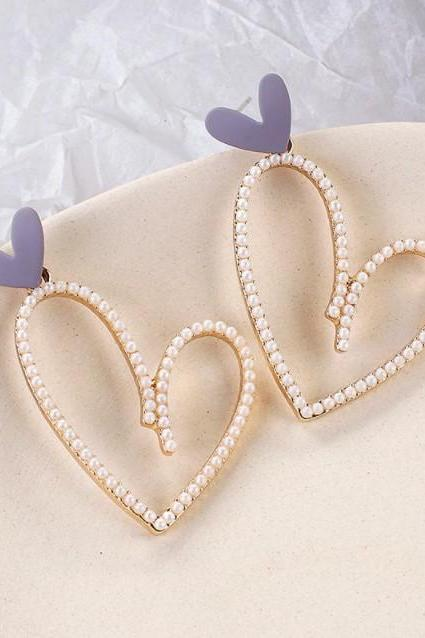 Heart Luxury Pearl Drop Earrings