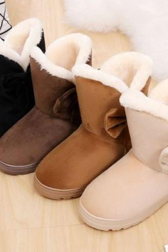 Adorable Women's Warm Winter Boots with Bow