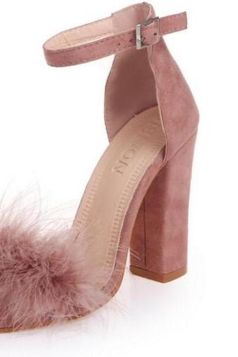 Ankle Strap High Heels Faux Fur Fashion Sandals