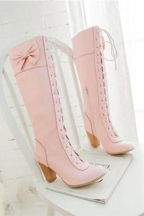 Winter Sweet Style Lace up Boots with Bow