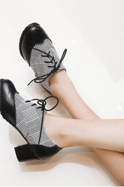 Chic Retro Vintage Chunky Heels Oxford Shoes