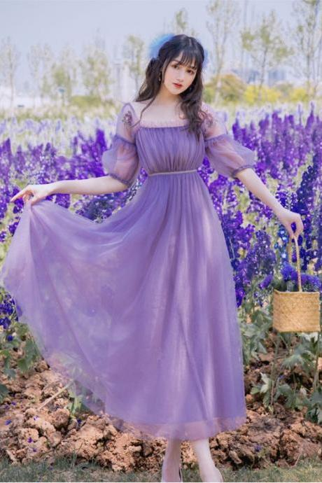 Summer Embroidery Puff Sleeve Vintage Style Purple Long Dress