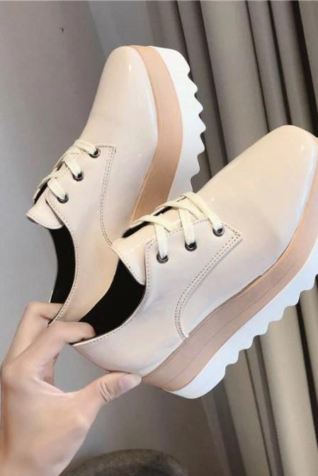 Patent Leather Lace up Oxford Shoes