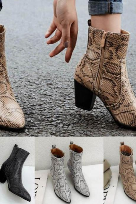 Snake Print Pointed Toe Ankle Boots