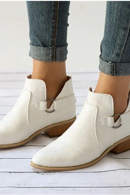 Black and White Buckle Design Pointed Toe Comfy Ankle Boots
