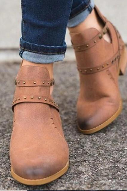 Leather Rivets Casual Ankle Boots