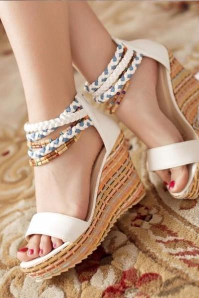 Beautiful Beaded Boho Wedge Sandals