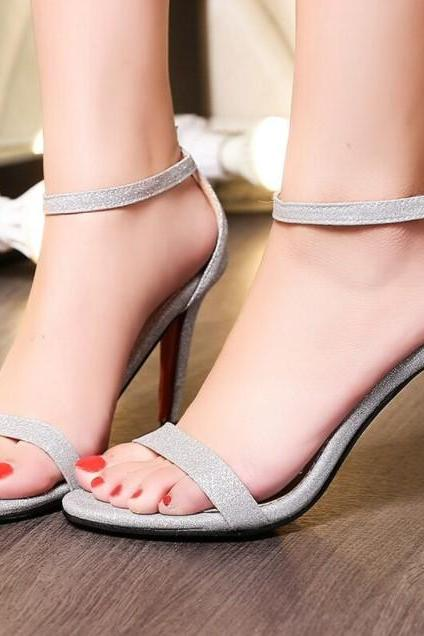 Elegant Ankle Strap High Heels Sandals