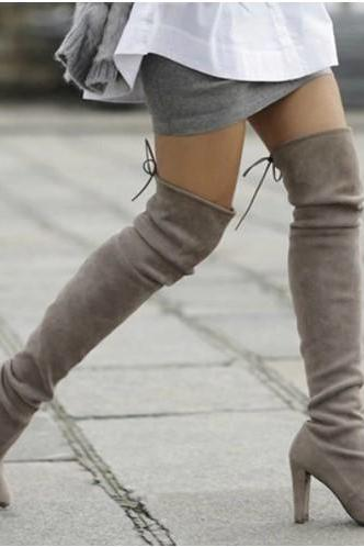 Stylish Suede Over the Knee Winter Boots