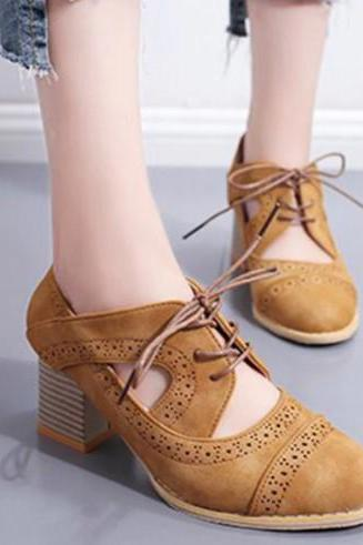 Retro Ankle Strap Lace up Oxford Shoes