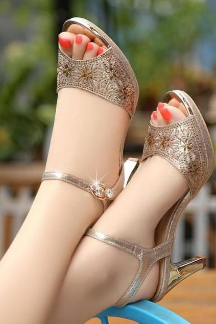 Gold and Black Peep Toe High Heels Fashion Sandals
