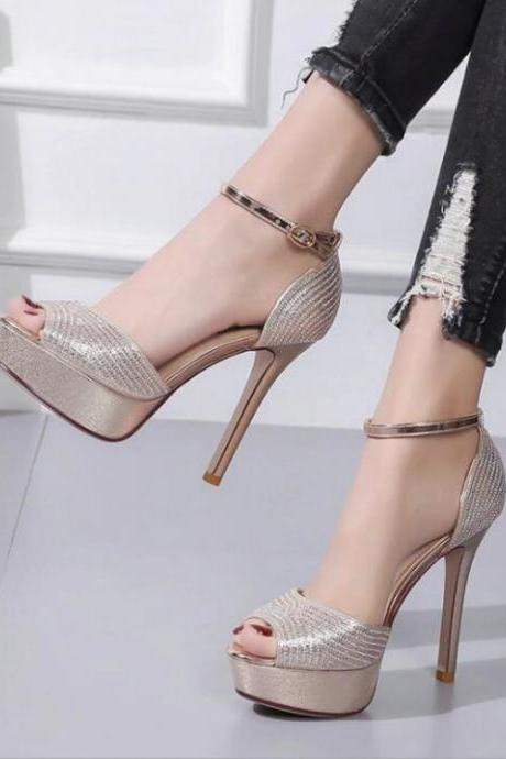 Summer Peep Toe Gold and Silver Rhinestones High Heels Sandals