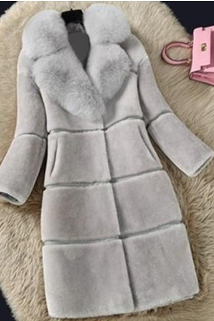 Elegant Turn Down Collar Faux Fur Winter Coat