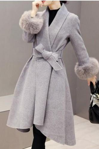 Ladies Autumn and Winter Grey Faux Fur Coat