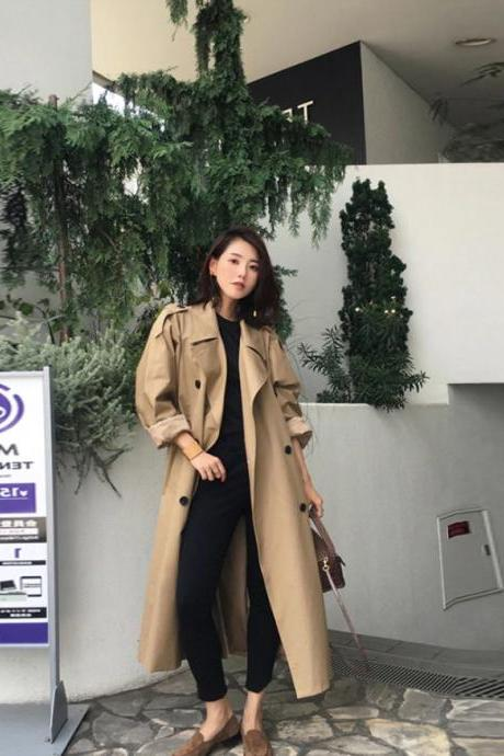 Chic Turn Down Collar High Quality Women's Trench Coat with Belt