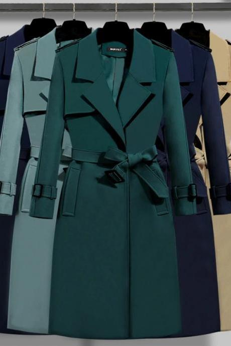 Stylish Autumn and Winter Solid Color Trench Coats with Belt
