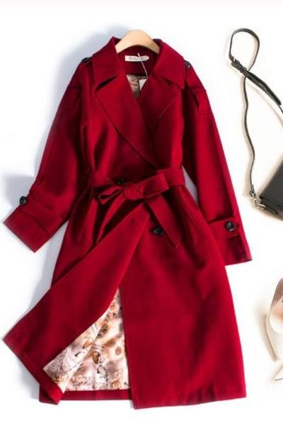 Chic Double Breasted Trench Coat