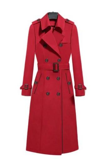 Double Breasted Long Trench Coat in Red Black and Khaki