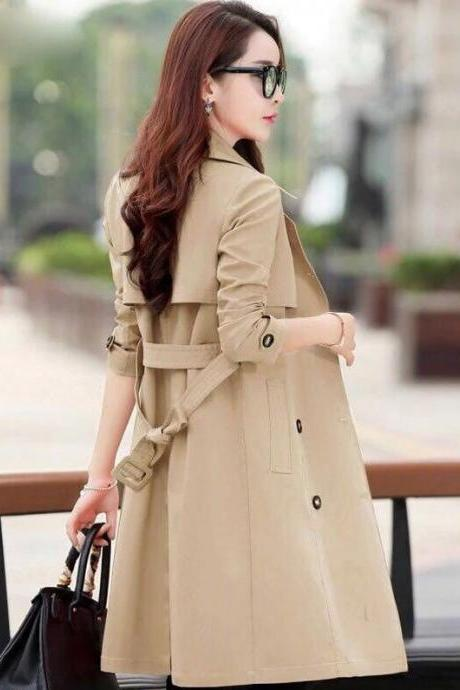 Turn Down Collar Double Breasted Trench Coat