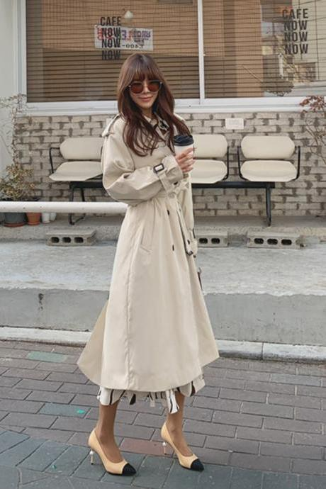 Autumn and Winter Double Breasted Women's Trench Coat