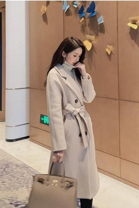Casual Autumn and Winter Wool Blend Trench Coat