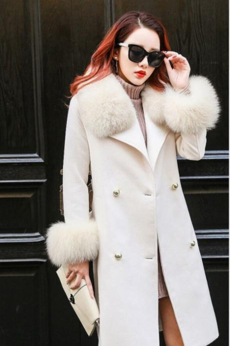 Fashion Women Double Breasted Woolen Faux Fur Winter Coat
