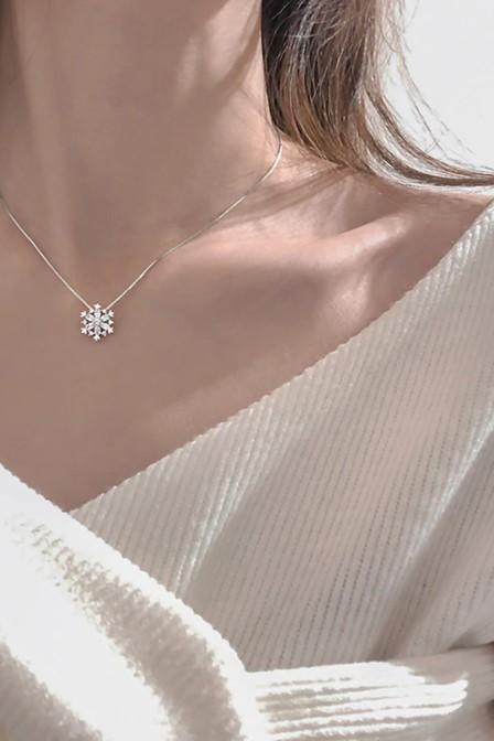 Elegant Silver and Gold Crystal Snowflake Charmed Necklace