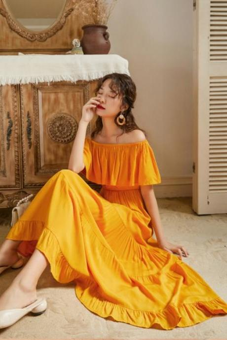 Chic Ruffled 3 Colors Long Summer Dress