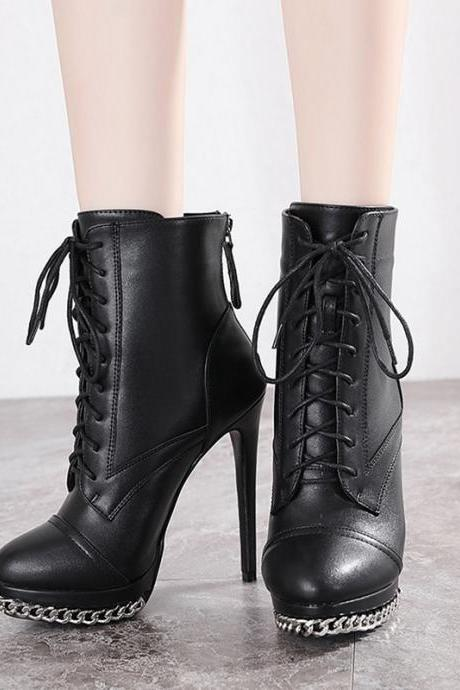 Black Sexy Chain Design PU Leather Boots
