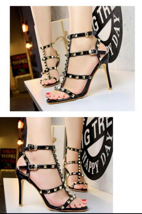 Chic T Strap Double Buckle Rivet High Heels Sandals