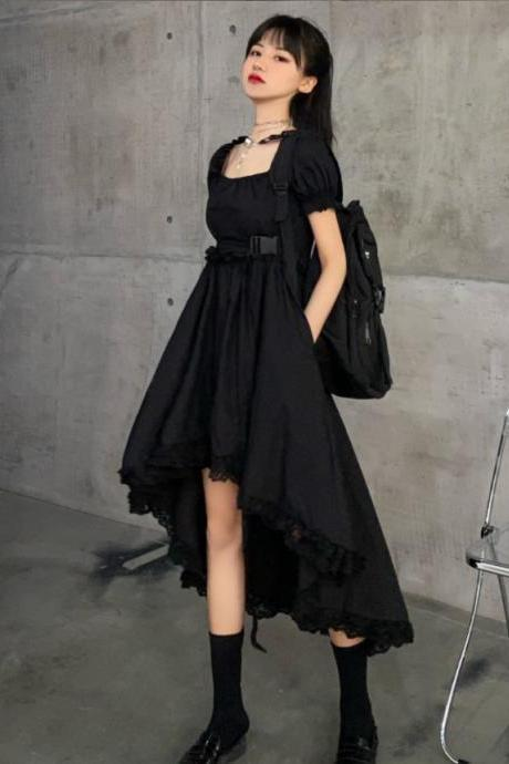 Kawaii Harajuku Black and White Puff Sleeve Irregular Hem Dress