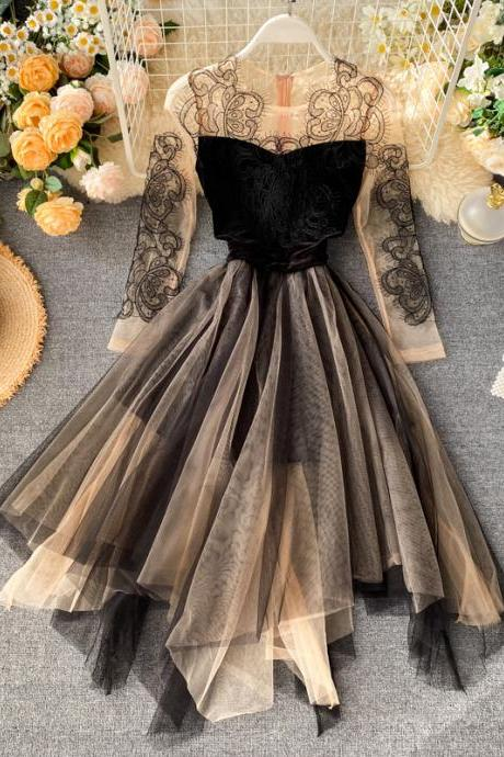 Lace Tulle Long Sleeve Party Dress