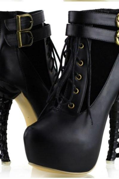 Gothic Punk Lace Up Bone Design High heels Ankle Boots