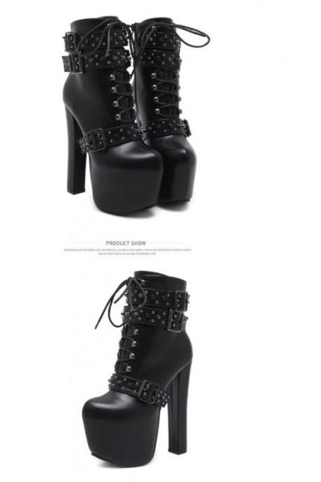 Black Fashion Rivets High Heels Boots