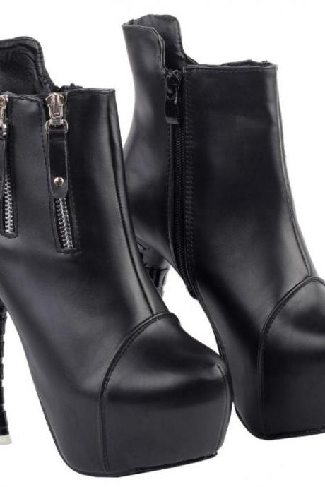 Gothic Punk Black Bone Heels Fashion Boots