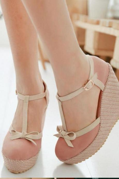 Beautiful T Strap Wedge Sandals with Bow