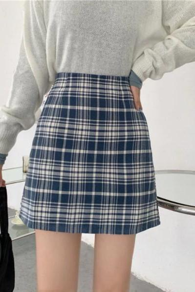 Cute Plaid Preppy A Line Skirt