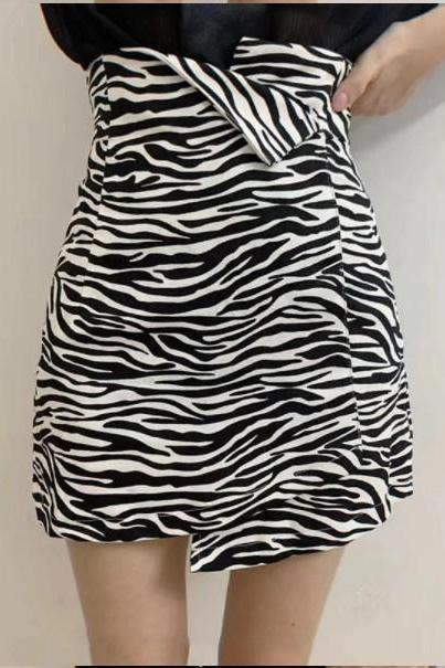 Zebra and Leopard Print Black and White Casual A Line Skirt