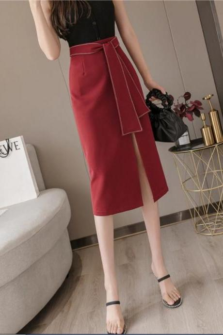 Side Slit Sexy Wine Red and Black Women's Midi Skirt