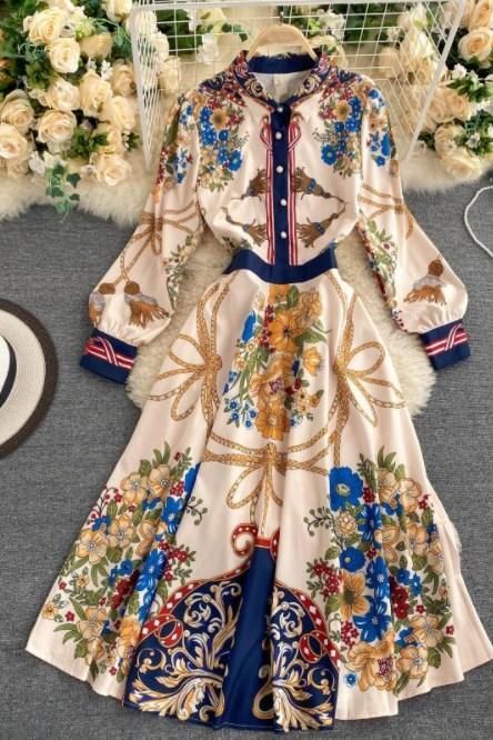 Elegant Vintage Printed Long Sleeve Party Dress