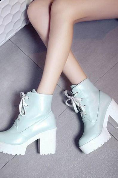 Cute Round Toe Lace up Platform High heels Fashion Boots