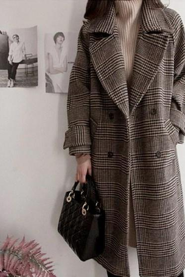 Chic Plaid Double Breasted Women's Coat