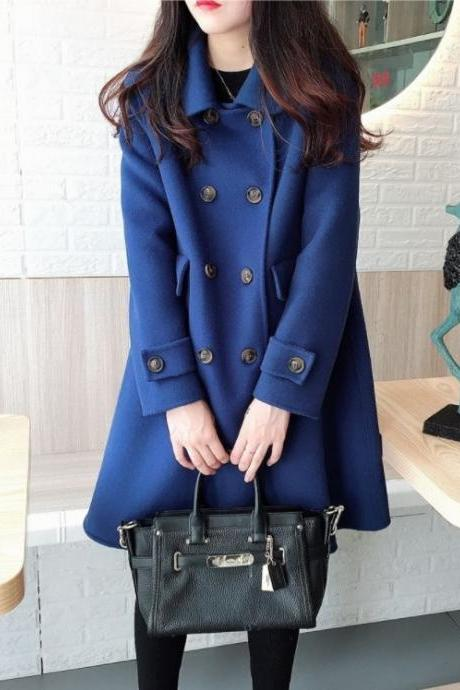 Double Breasted Mid Length Woolen Coat