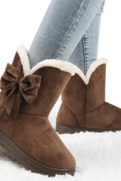 Beautiful Ladies PU Leather Winter Boots with Bow