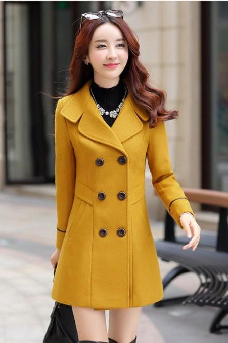 Classy Wool Blend Double Breasted Coat