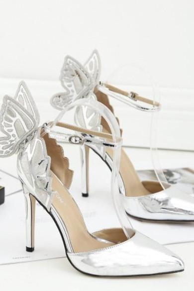 Beautiful Butterfly Wing Pointed Toe High Heels Shoes